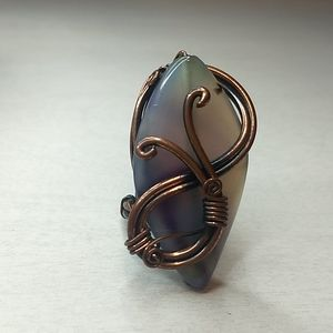 Purple and Copper Statement Ring